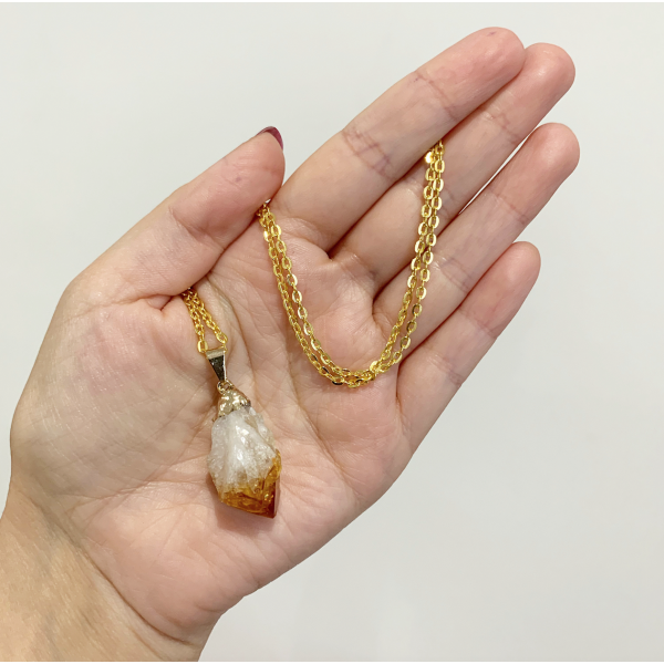 Citrine - Raw Electroplated Gold Pendant