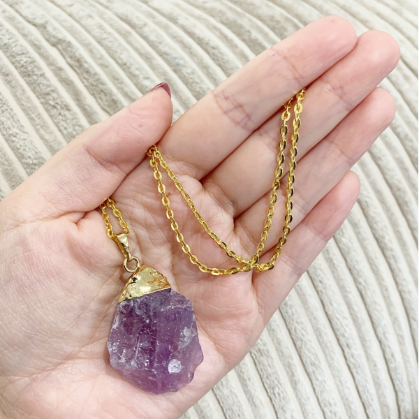 Amethyst - Rough Gold Electroplated Pendant