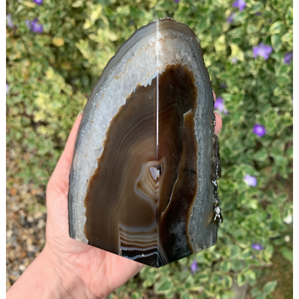 Black Agate Geode- Large