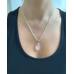 Smooth Rose Quartz Teardrop Pendant - Silver