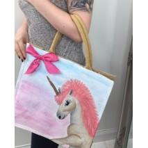 Hand Painted Canvas Unicorn Bag.